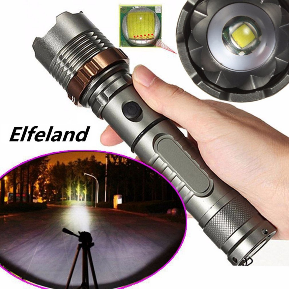 LED Elfeland Tactical Military T6 Flashlight Rechargeable Zoomable Torch Aluminum Alloy Flashlight with Lotus Head Quality