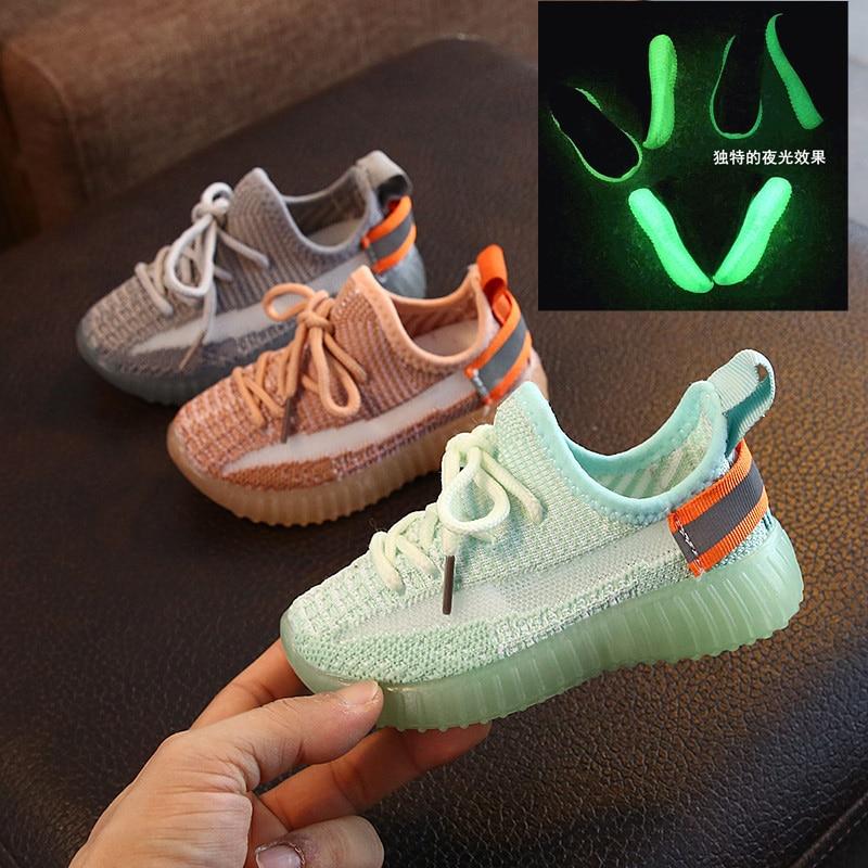 Size 21-30 Children Luminous Shoes Children Mesh Breathable Shoes Children Luminous Sneakers Boys Girls Children