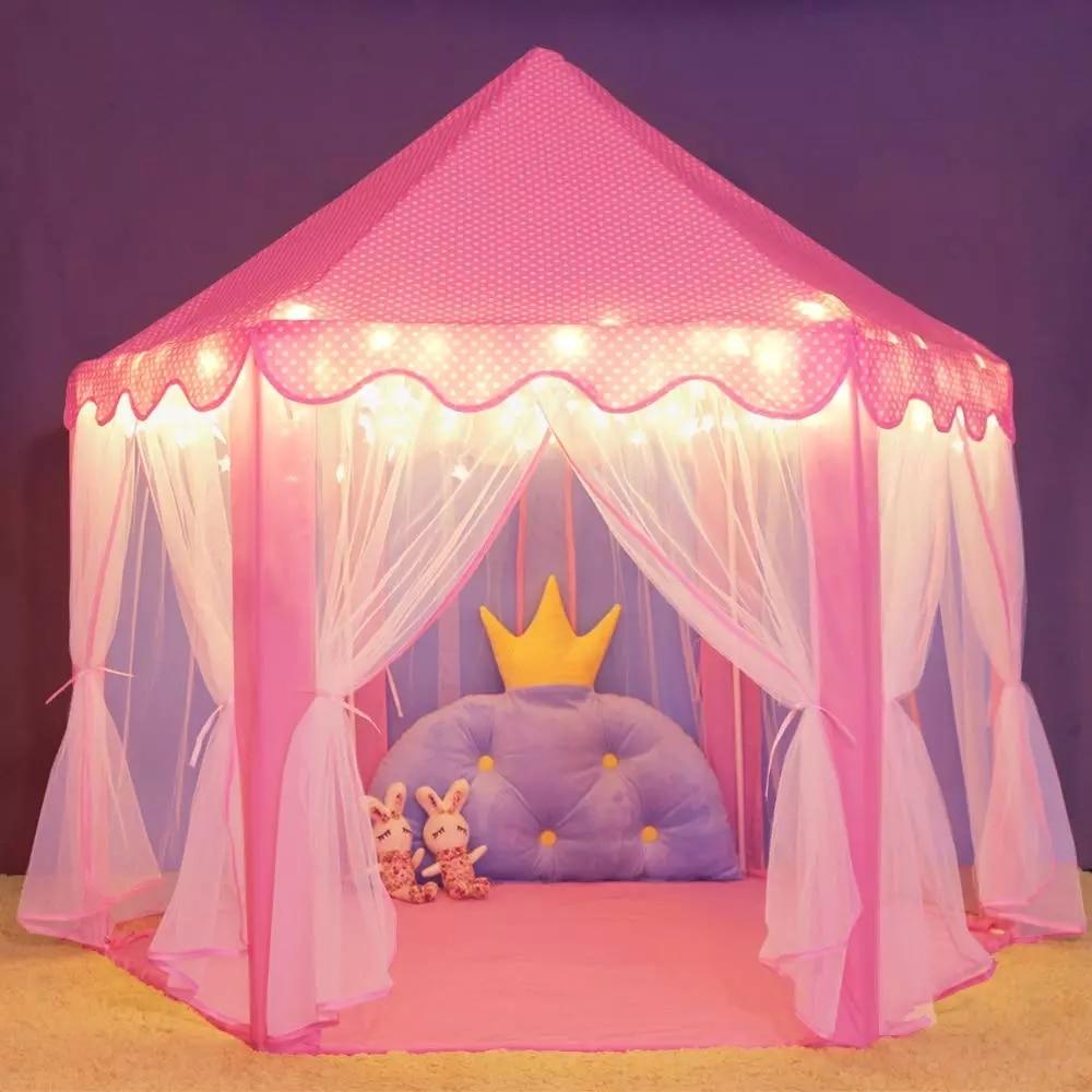 Палатка-замок детская портативная, стильная палатка принцессы, Пляжная, на молнии, для помещений и игрового домика, подарок для детей