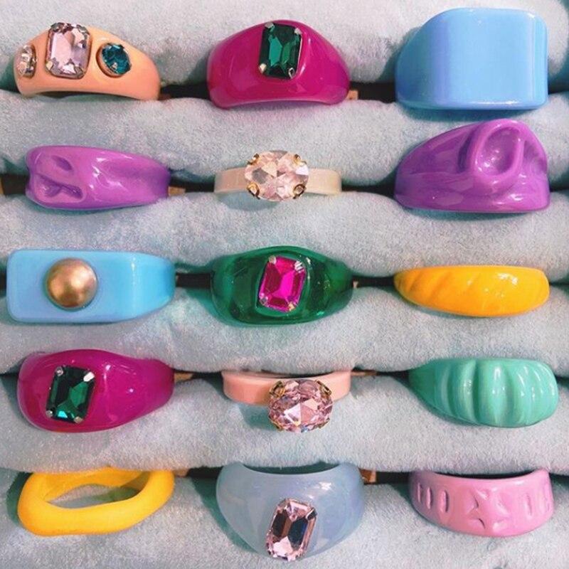 UILZ 2021 New Trendy Korean Transparent Resin Acrylic Crystal Irregular Geometry Simple Rings for Women Girls Summer Jewelry