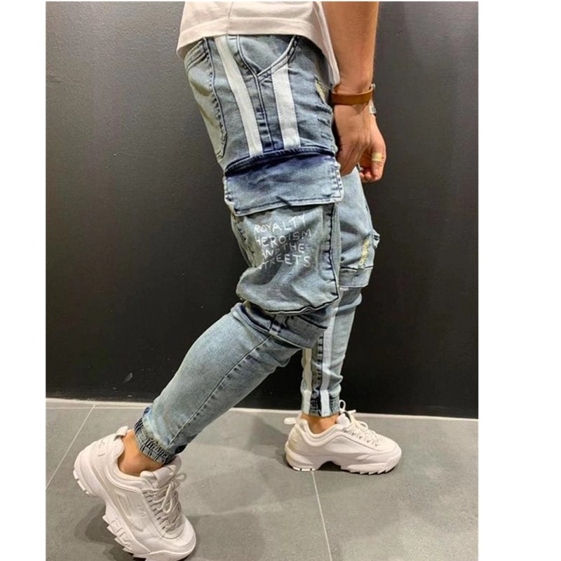 2020 Pure Color Mens Skinny Jeans Trend Knee Broken Hole Zipper Pocket Jeans Hip Hop Pencil Jeans