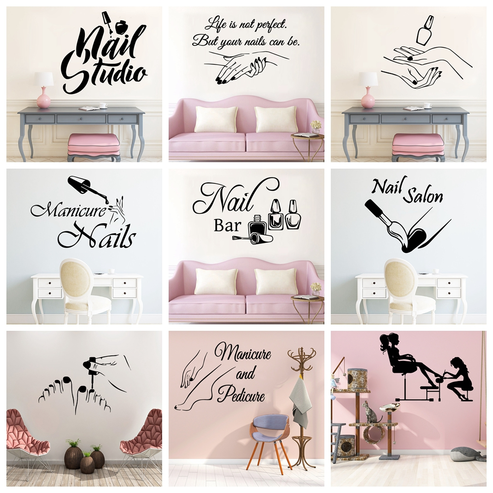 Креативные виниловые наклейки на стену для маникюрного салона, наклейки на стену, украшения для салона ногтей, наклейки на стену, обои, пост...