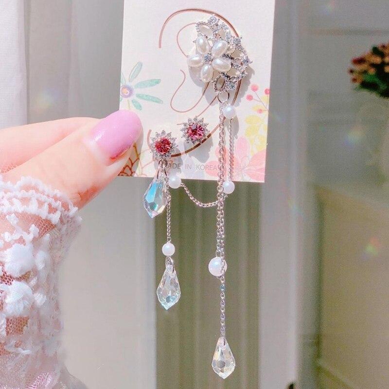 MENGJIQIAO Neue Koreanische Elegante Rosa Kristall Lange Quaste Drop Ohrringe Für Frauen Mädchen Asymmetrische Perle Blume Pendientes Schmuck