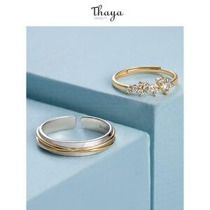 Image 4 - Thaya gümüş 925 takı yüzük altın yıldız parça raylı orijinal tasarım kadınlar için Bijoux kadın hediye güzel takı