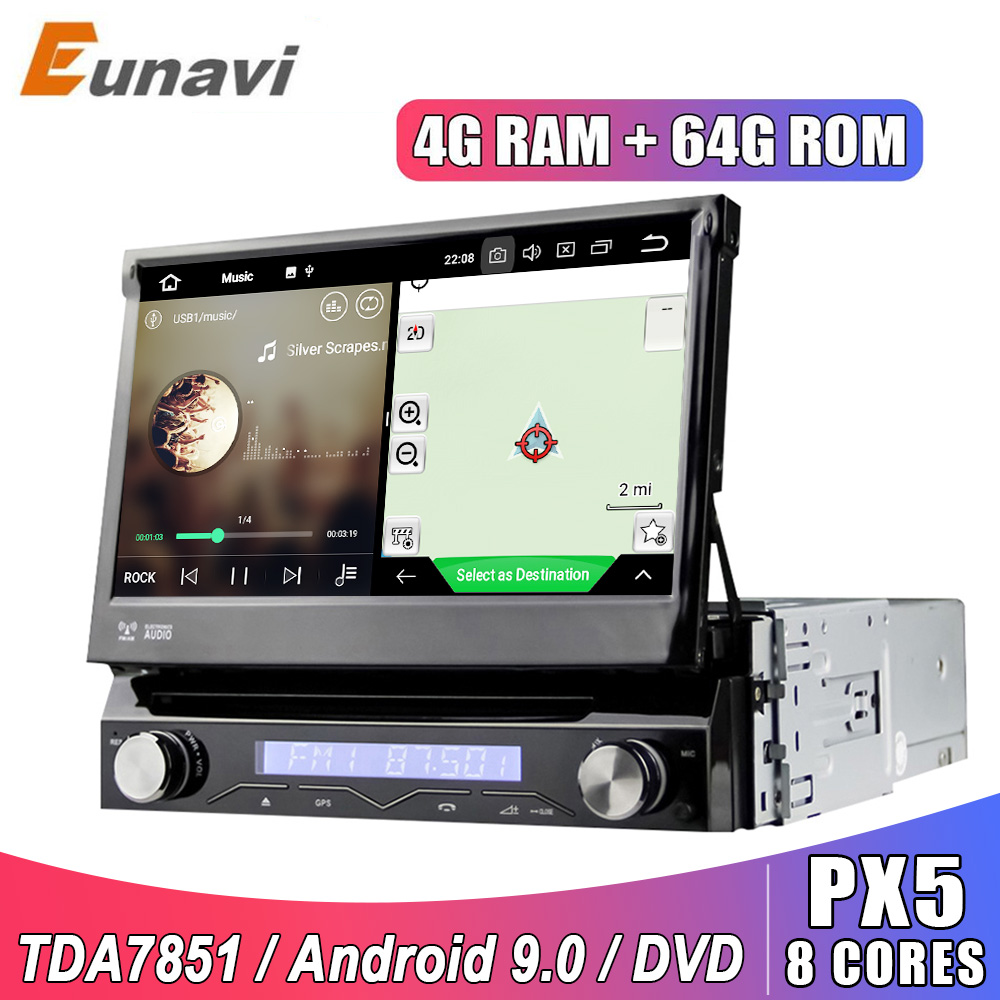 Eunavi 1 Din Android 9,0 8 Core Auto DVD Player Für Universal GPS Navigation Stereo Radio WIFI MP3 Multimedia steuergerät 4G 64G RDS
