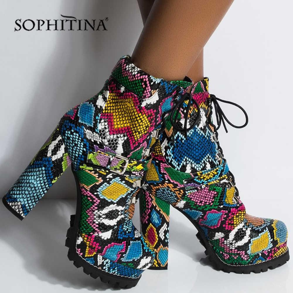 SOPHITINA 12cm kare topuk çizmeler moda platformu el yapımı ayakkabı kadın özel yılan tasarım yuvarlak ayak dantel-up yarım çizmeler h7