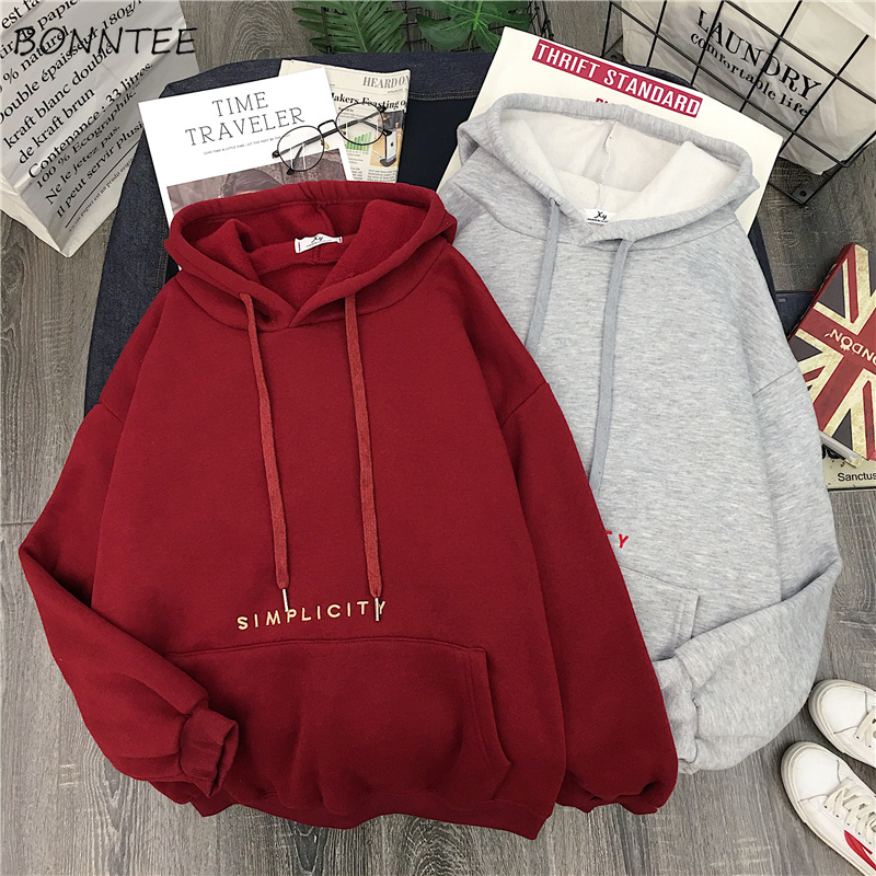 Hoodies Women Thicker Warm Large Letter Print Trendy Pocket Korean Loose Simple All-match Ladies Sweatshirt Casual Womens Soft