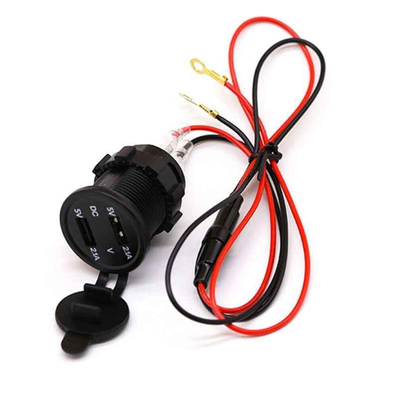 5V 2.1A étanche double Ports USB chargeur prise adaptateur prise de courant affichage voltmètre pour 12-24V voiture bateau moto véhicules