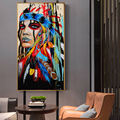 Indian Girl With Feather Canvas Painting Posters Prints Quadros Cuadros Pop Wall Art Picture Modern For Living Room Home Decor