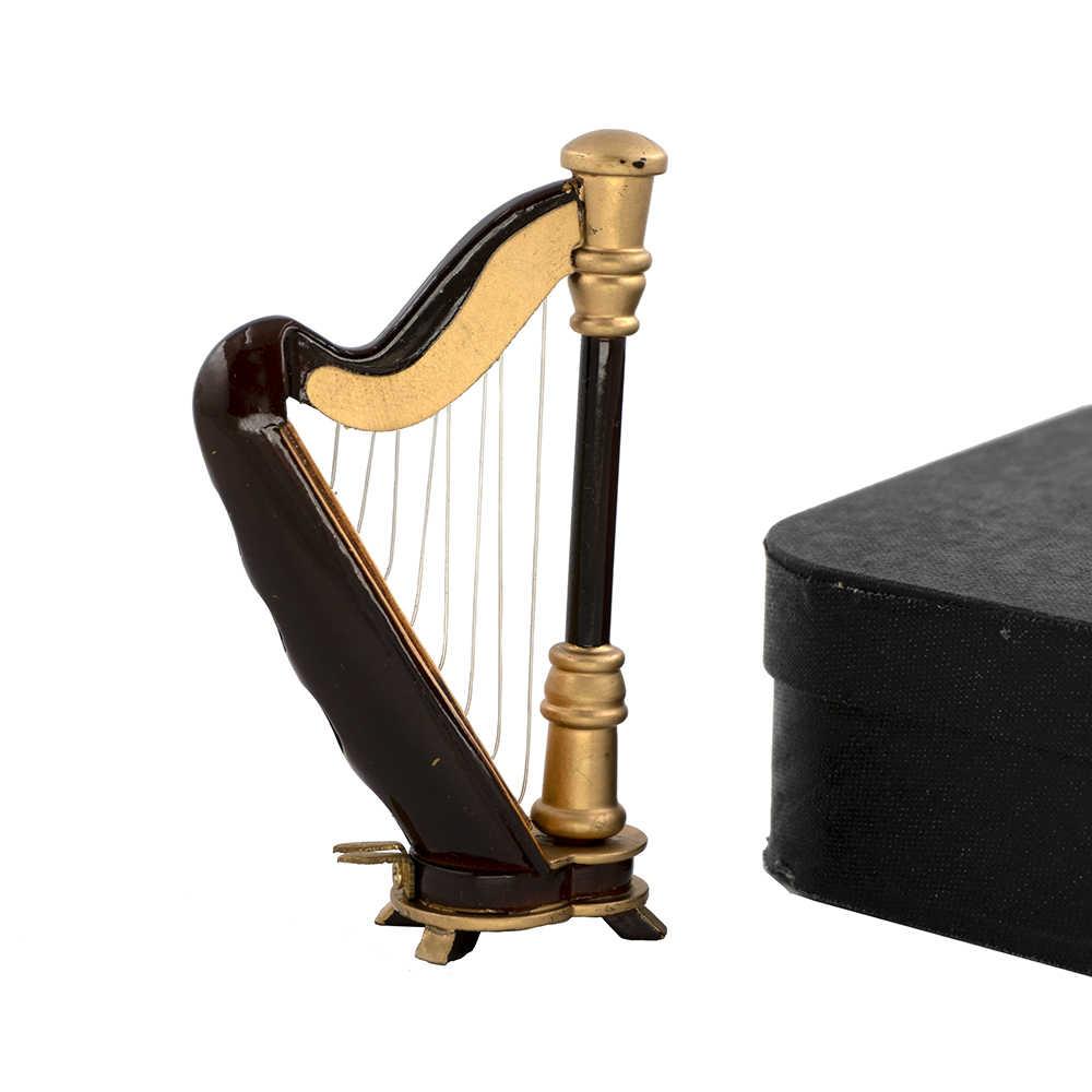 Miniatura Casa De Muñecas instrumento musical Arpa Con Taburete