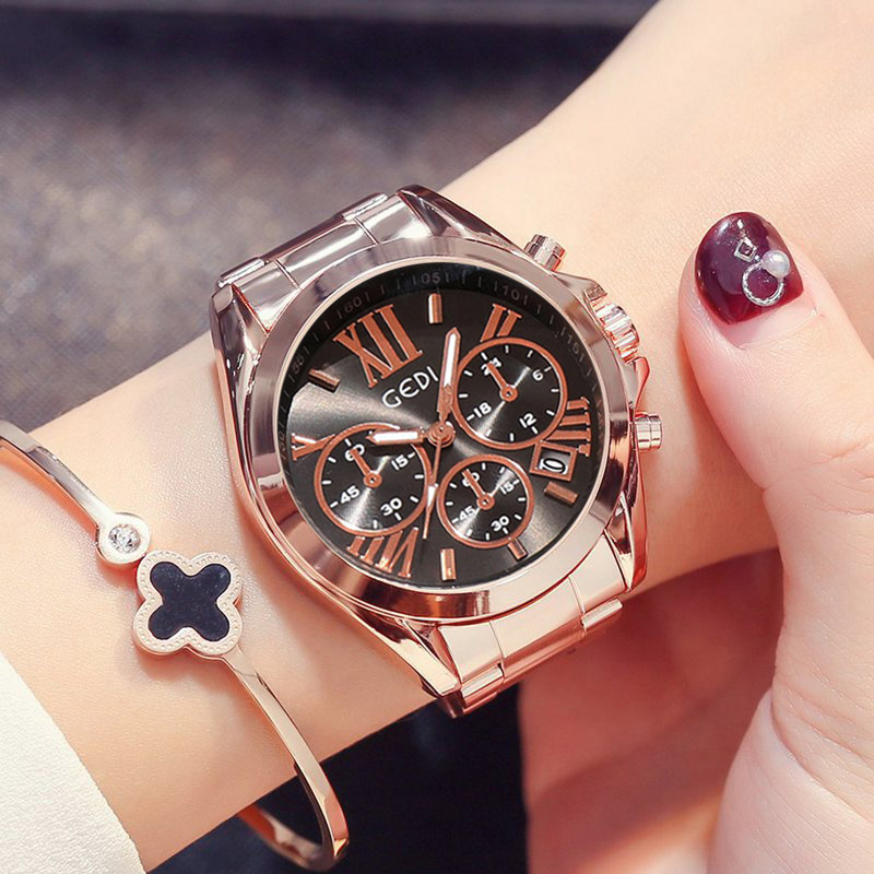 Luxury Rose Gold Women Casual Watch Waterproof Calendar Unique Quartz Business Dress Watches for Female Golden Lady Clock 3