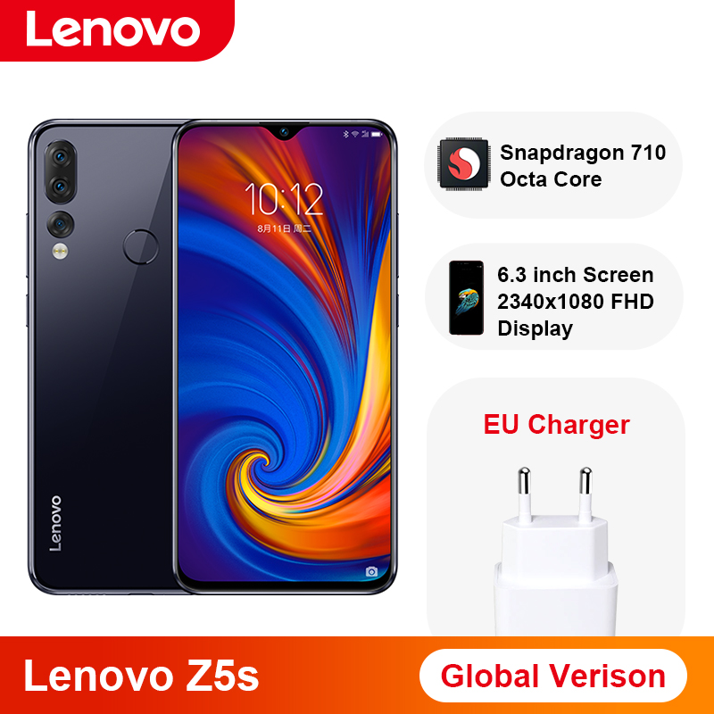 Global Version Lenovo Z5s Snapdragon 710 Octa Core 6GB 64GB Smartphone 6.3 Inch AI Triple Rear Camera Android P Cellphone