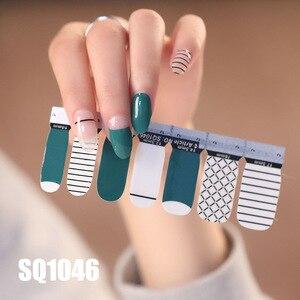 Image 1 - 14tips/лист Корейская версия многоцветные наклейки ногтей Обертывания полное покрытие лак для ногтей наклейки сделай сам аппарат для крепления на гвоздях и художественное оформление