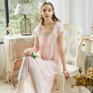 Image 3 - Roseheart Women Pruple Black Sexy Sleepwear Night dress Homewear Lace Princess Nightwear Luxury Nightgown Female Gown