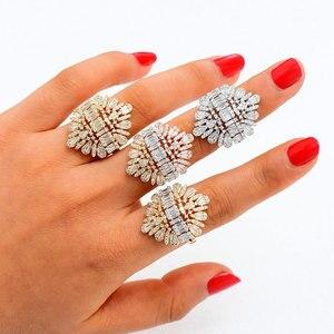 Image 3 - Godki 2020 nova moda luxo charme aaa baguette corte zircão cúbico anéis de casamento para mulheres t forma pedra festa de casamento jóias