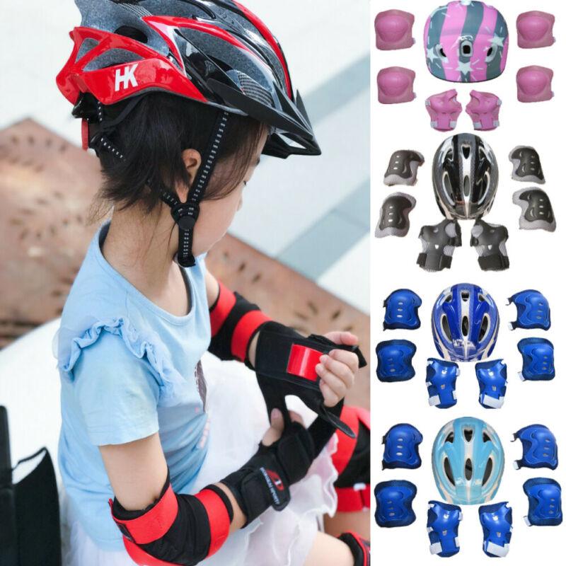 7Pcs/set Kids Boy Girl Safety Helmet Knee Elbow Pad Sets For Cycling Skate Bike Roller Skating Protector Set