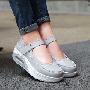 Image 4 - Chaussures de Sport à plateforme pour femmes, chaussures de course pour Jogging, en cuir PU rose, 2019