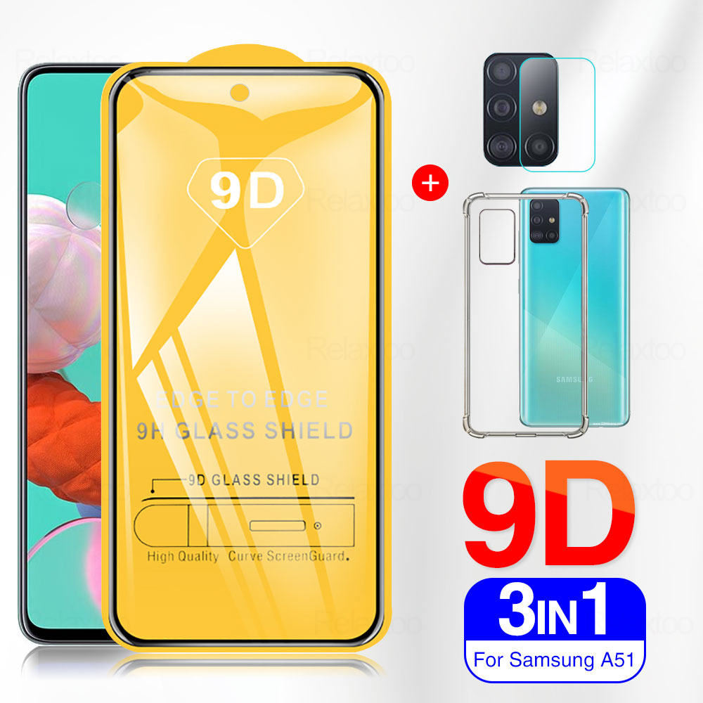 3in1 9D Tempered <font><b>Glass</b></font> On For <font><b>Samsung</b></font> Galaxy A51 A71 Protective Cover <font><b>Case</b></font> on Samsun A70 70S A80 A50 A50s A40 A30 A30s M30 <font><b>M30S</b></font> image
