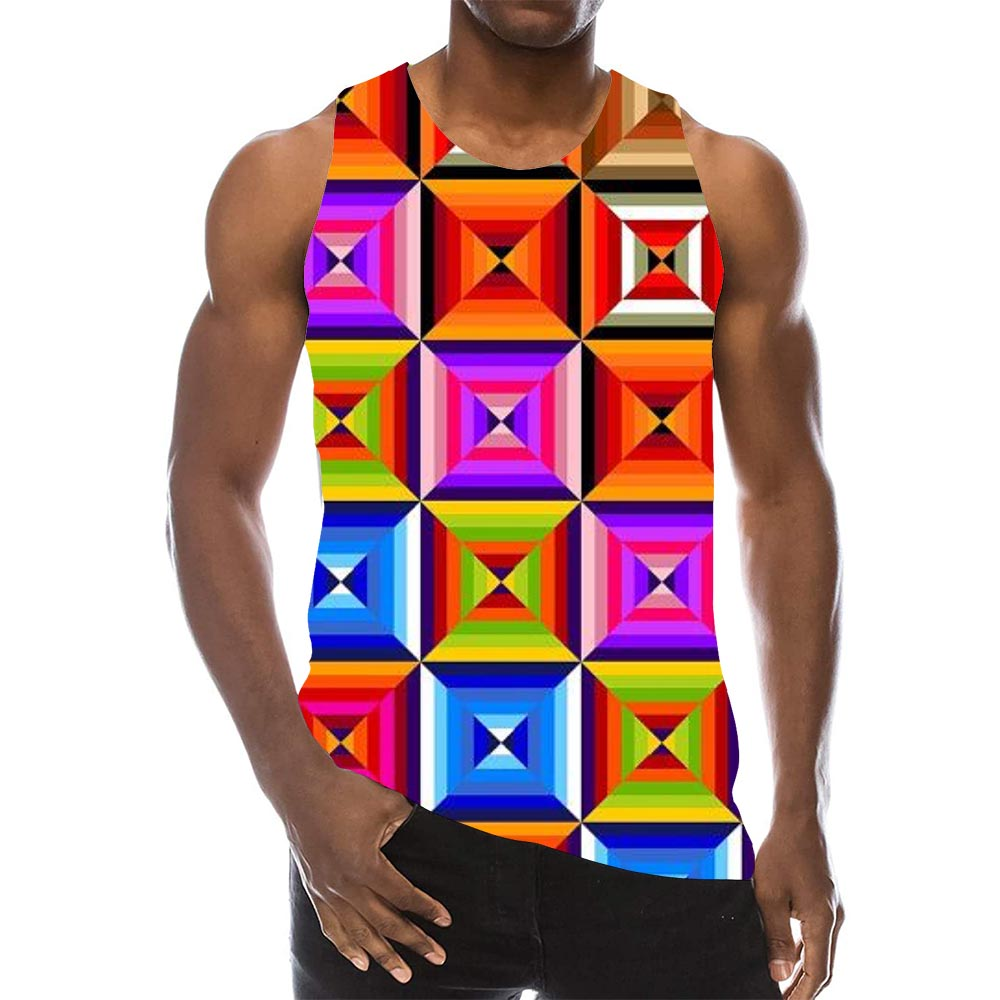 Psychedelic Graphic Tank Top For Men 3D Print Sleeveless Rainbow Geometry Pattern Top Colorful Tees