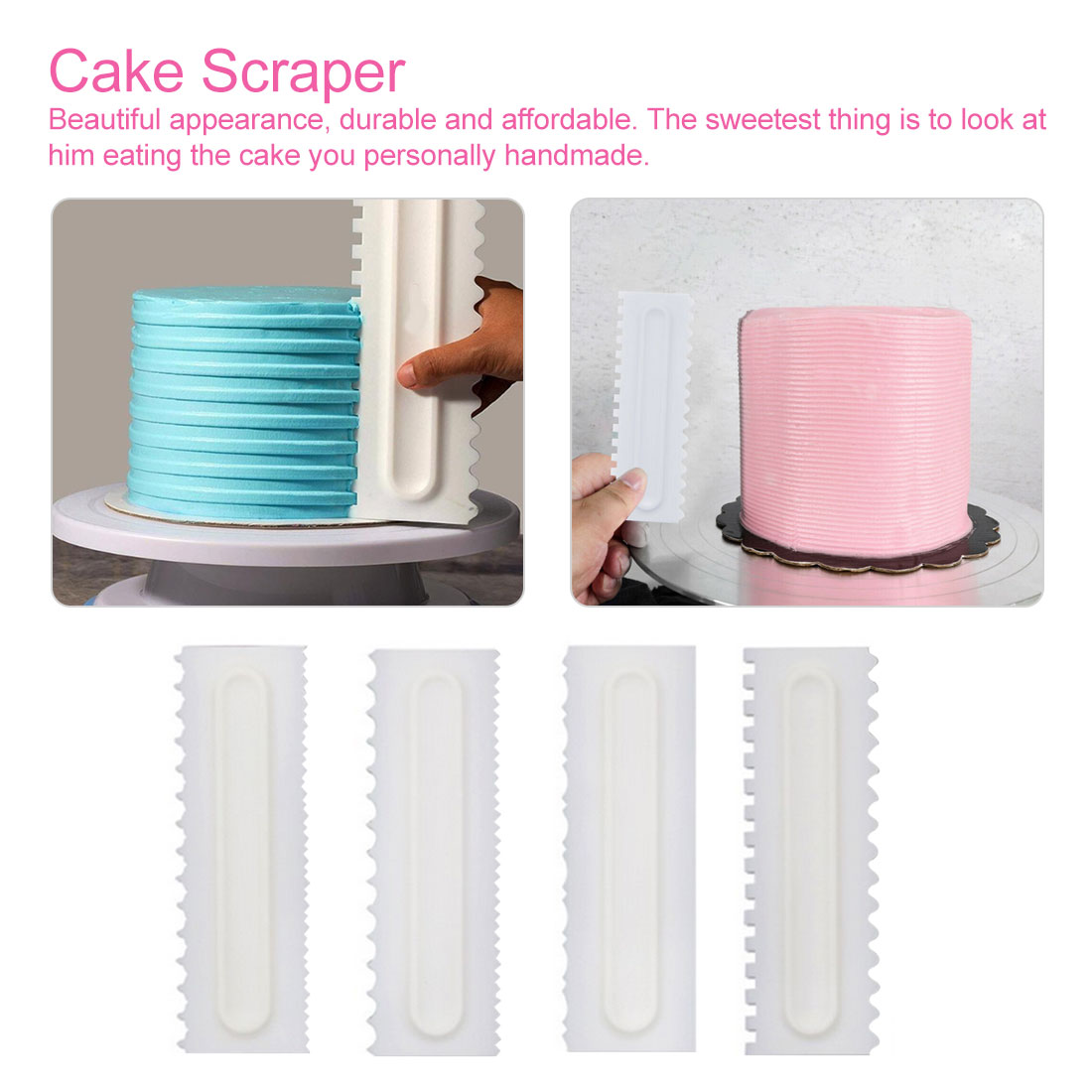 4Pcs/Set <font><b>Cake</b></font> Decorating Comb <font><b>Cake</b></font> <font><b>Scraper</b></font> <font><b>Smoother</b></font> Cream Decorating Pastry Icing Comb Fondant Spatulas Baking Pastry Tools image