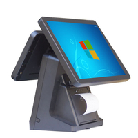 PC Cash register Dual Display Screen 15 Touch Capacitive Touch Screen Built in 58mm Printer POS Terminal retail Point of sale