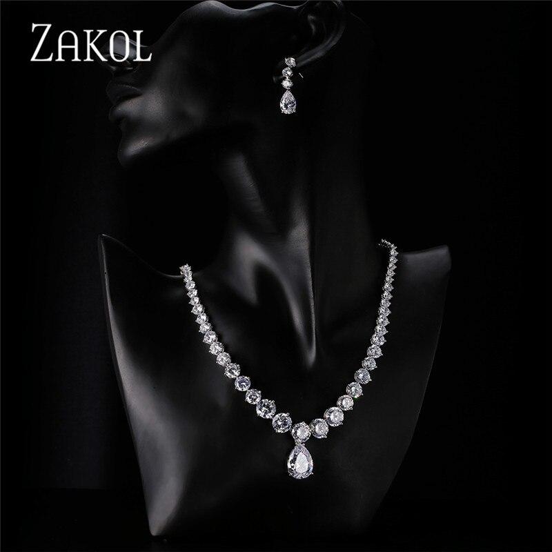 Image 5 - ZAKOL Роскошные блестящие Прозрачные Серьги в виде капли и  круглые серьги с кубическим цирконием, набор для невесты, свадебный  ювелирный набор FSSP004Ювелирные наборы