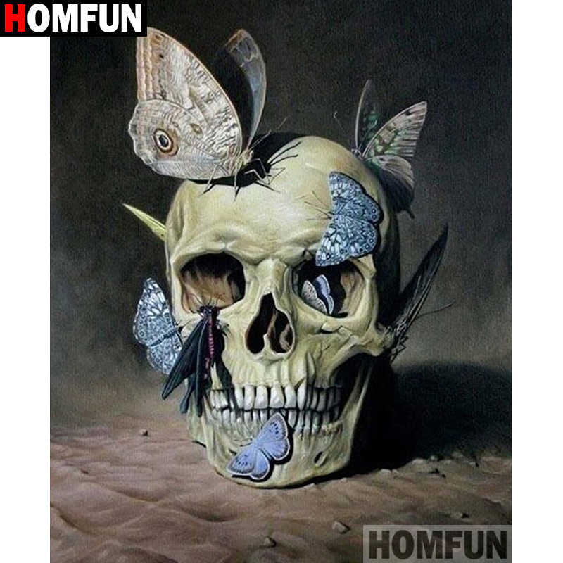 "Homfun DIY 5D Diamond Lukisan ""Skull Butterfly"" Cross Stitch Square Round Diamond Bordir Pekerjaan Tangan Berlian Imitasi Seni A27336"