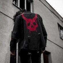 Dark Punk Denim Jackets Men Streetwear Hip Hop Skull Printed
