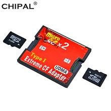 CHIPAL Dual Micro SD SDHC SDXC TF per Adattatore per Schede CF Reader UDMA MicroSD per Estrema Compact Flash Tipo I convertitore Lettore di Schede
