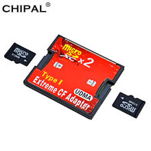 CHIPAL Dual Micro SD SDHC SDXC TF to CF Card Adapter Reader UDMA MicroSD to Extreme Compact Flash Type I Converter Cardreader