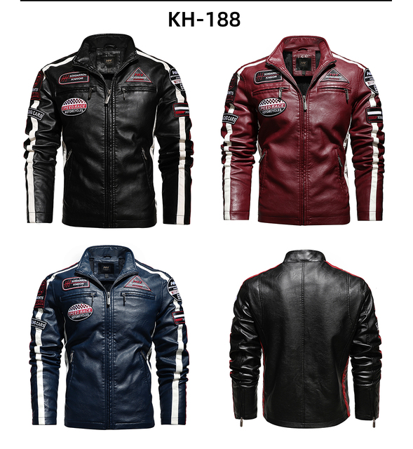 Vintage Motorcycle Jacket 2020 Men Fashion New Biker Leather Jacket Male Embroidery Bomber Coat Winter Fleece Pu Overcoat 2