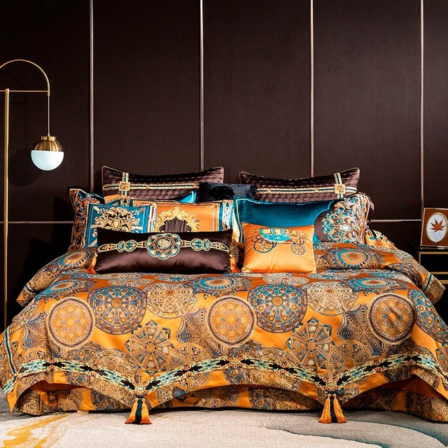 Chic Home 4/6/10Pcs Place Faux Silk Luxury Large Jacquard with Embroidery Golden Bedding set Duvet Cover Bedspread Bed Sheet set 1