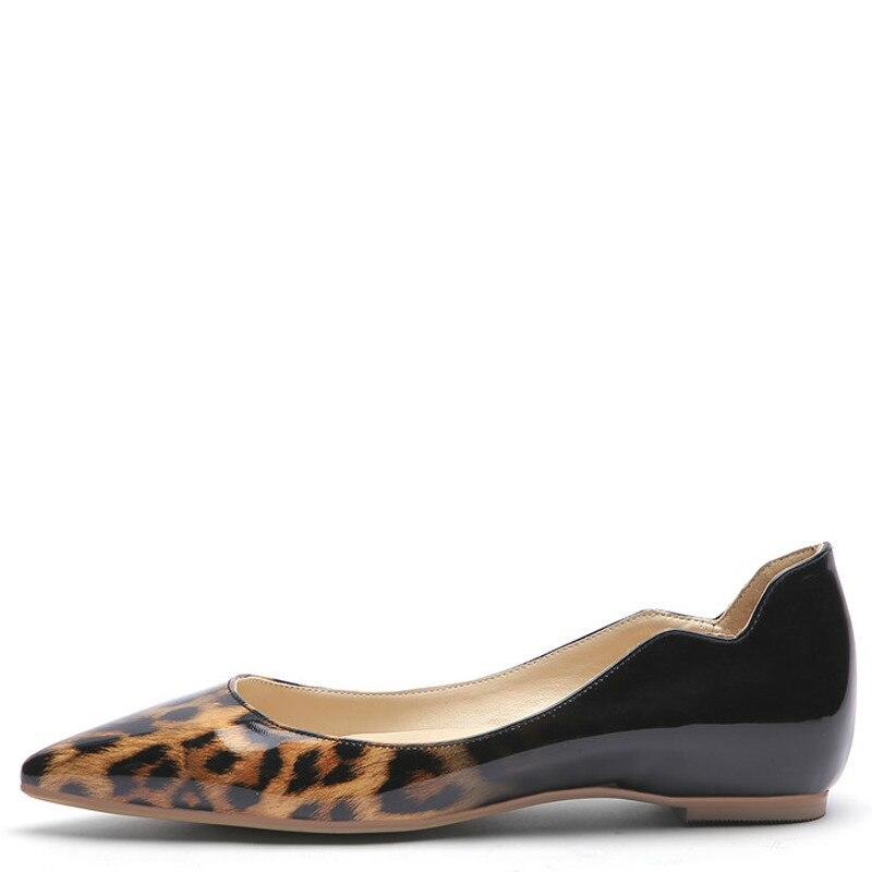 YECHNE Leopard Print Women's Platform Shoes Plus Size 43 44 45 Pointed Toe Flats Spring Autumn Shallow Platform Ballet Shoes