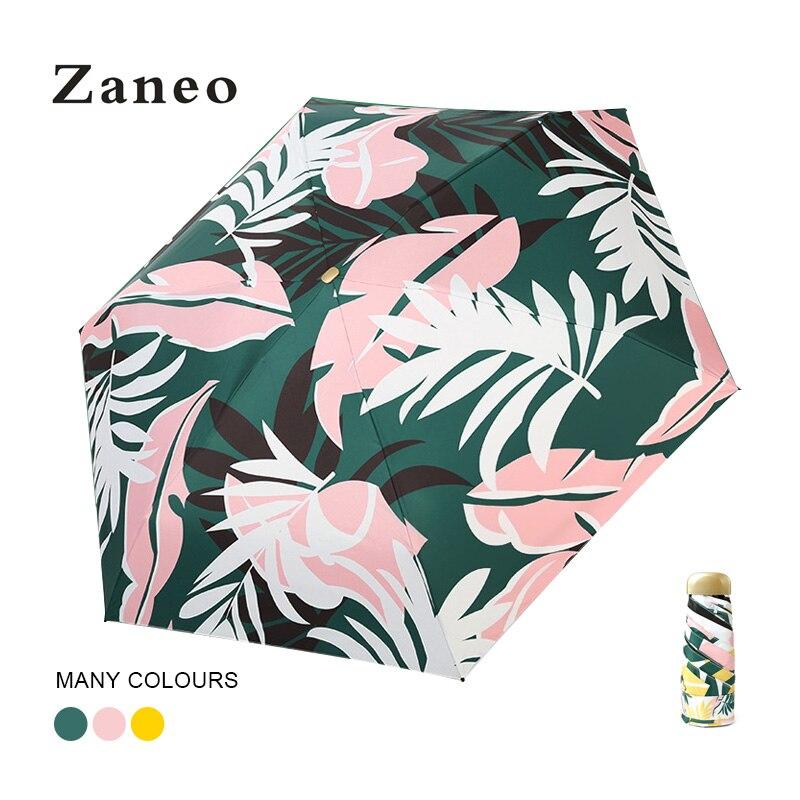 Легкий мини-зонтик Карманный Женский принт с листьями женский складной зонтик женский солнцезащитная, ветронепроницаемая непромокаемая
