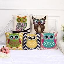 Cute Cartoon Owl Animal Print Pillow Case Room Home Office Sofa Car Decorative Cushion Covers Lovely Throw