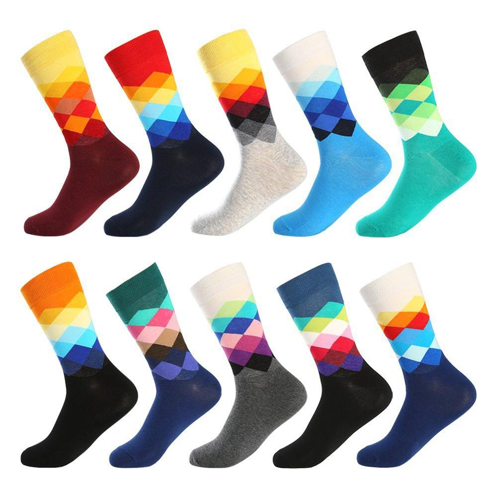 Cotton Socks Men Colorful Rhombus Happy Funny Socks Personality Skateboard Design Print Harajuku Male Socks