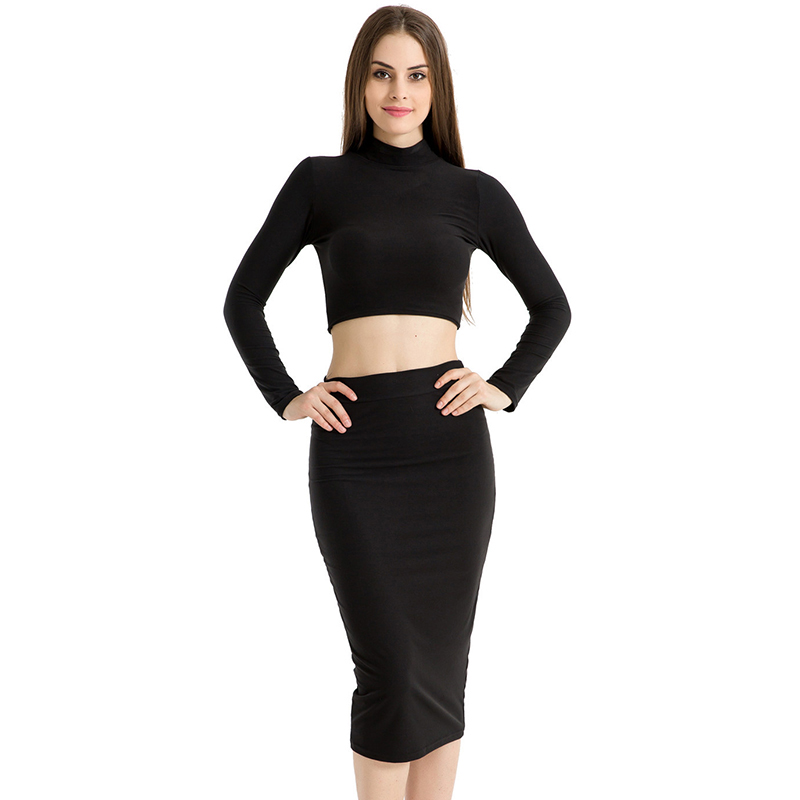 Club Autumn Long Sleeve Outfit Clothes Two Pieces Dress Sets Women Sexy Short Pullover Tops + Knee Length Skirt