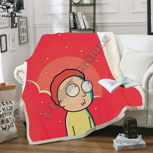 Plstar Cosmos Cartoon Rick and Morty funny Fleece Blanket 3D printed Sherpa Blanket on Bed Home Textiles Dreamlike style-2