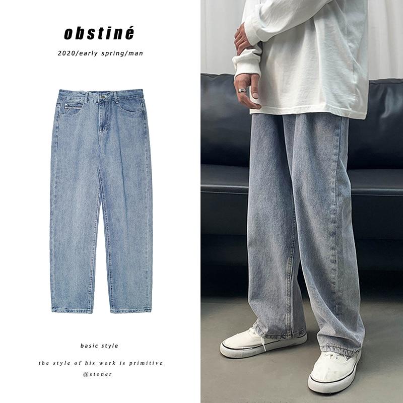 Straight Jeans Men's Fashion Washed Solid Color Casual Retro Jean Pants Men Streetwear Loose Hip Hop Denim Trousers Mens M-2XL
