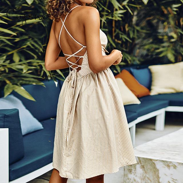 CUPSHE Apricot Stripe Print Elegant Ruched Knotted Dress Spaghetti Strap Sundress 2019 New Slim Sleeveless Sexy Lace Up Vestido