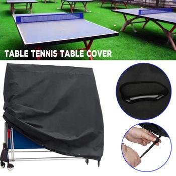 Wysokiej jakości obrus ping pong pokrywa kryty stolik na zewnątrz tenis arkusz Heavy Duty wodoodporna stół do pingponga do przechowywania tanie i dobre opinie Nowoczesne 100 poliester ping pong table cover Black