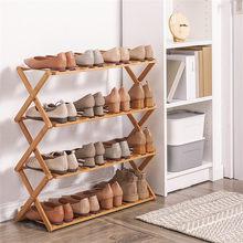 Cremalheira de sapato dobrável 2/3/4/5/6 camadas de bambu sapato armários prateleira organizador casa titular sapatos rack armazenamento dormitório porta