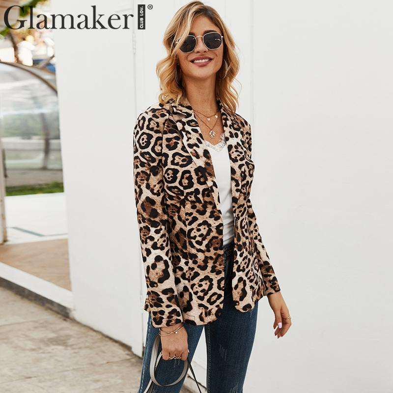 Glamaker Leopard print Turn-back Collar Jacket Women Buttons Long Sleeve Warm Elegant Blazer Female Autumn Winter Sexy Jacket