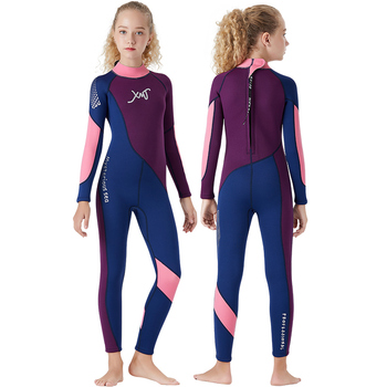 Summer Surfing Outdoor Kids young girl neoprene Diving Wetsuits Children One Pieces Patckwork Short Sleeve Swimwear Diving Suits
