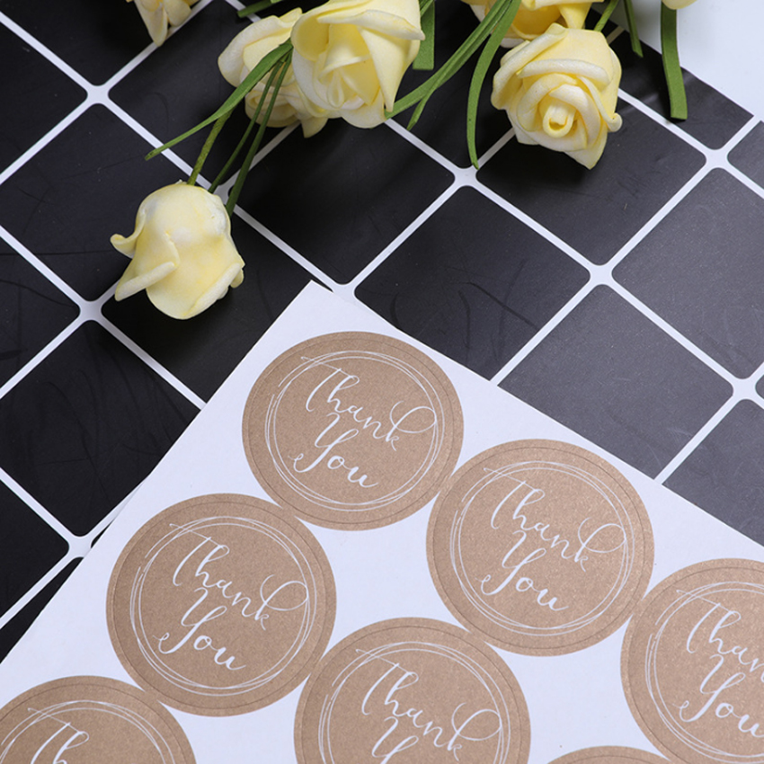120pcs/lot 'Thank You' Kraft Paper Adhesive Decorative Sealing Sticker DIY Gift Product Package Decoration Label Store Supplies