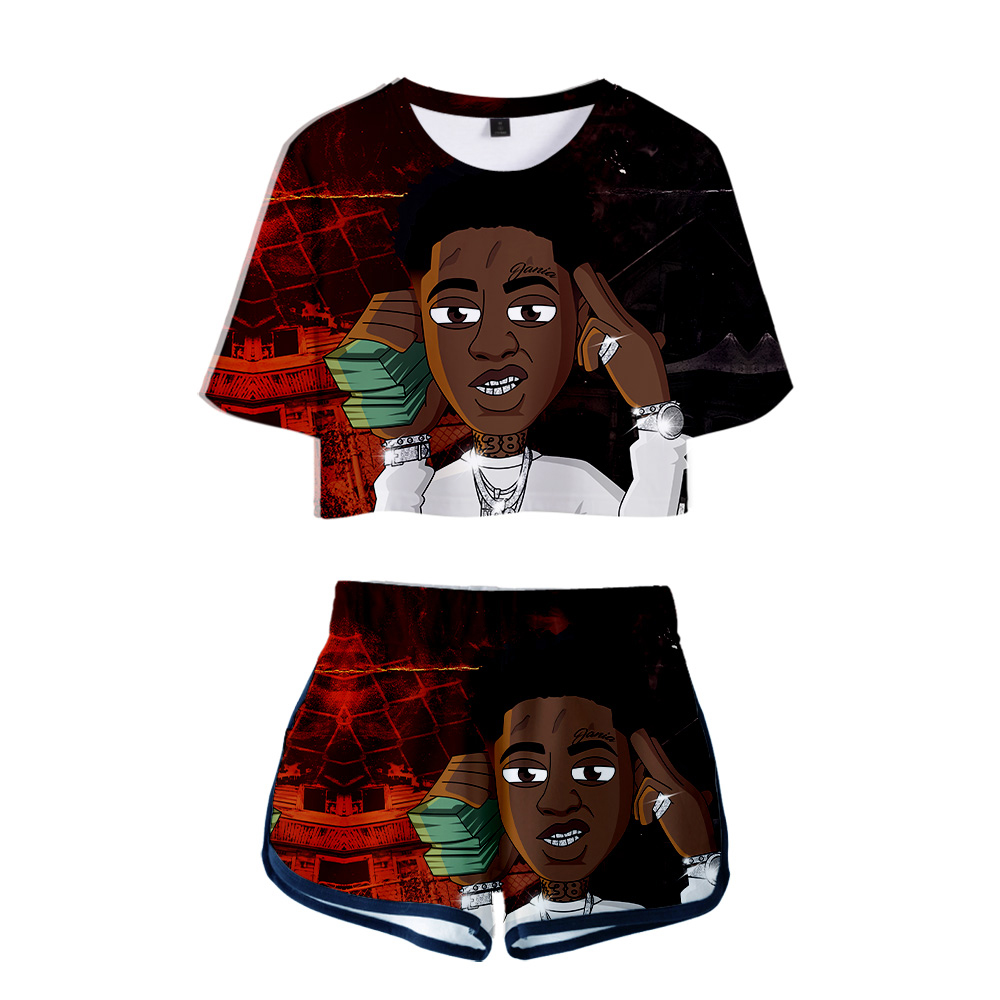 2019 NEW Hip Hop Rapper Youngboy Never Broke Again 3D Two Pieces Sets Women Fashion Girl Casual T-shirt+shorts Clothes