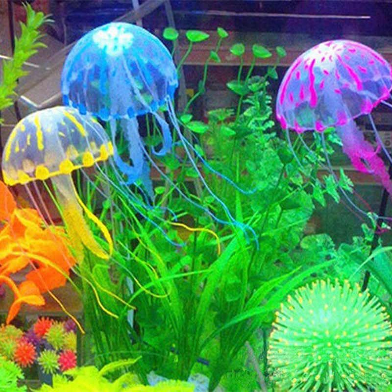Aquarium artificiel lumineux Lionfish Aquarium aquatique paysage Silicone méduse poisson lueur dans l'ornement sous-marin sombre