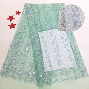 New Sequins Lace Fabric 2020 High Quality Latest Sequins African Lace Fabric French Tulle Lace Fabric Nigerian Wedding KR9126