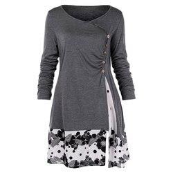 Plus Size 5XL Gedrapeerde Bloemen Lange Tuniek Shirts Lange Mouw O-hals T-shirt Knoppen Verfraaid Vrouwen Casual Tops Tee 2019 Fall