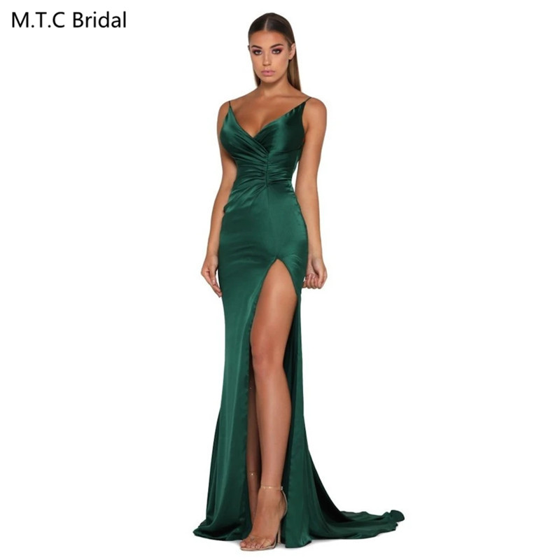 Sexy Mermaid Green Long Prom Dresses New Arrival High Slit Backless Elastic Satin Plus Size Wedding Party Dress Robe De Soiree